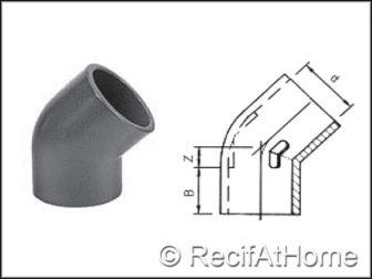 Coude à 45 degrés PVC HP F/F
